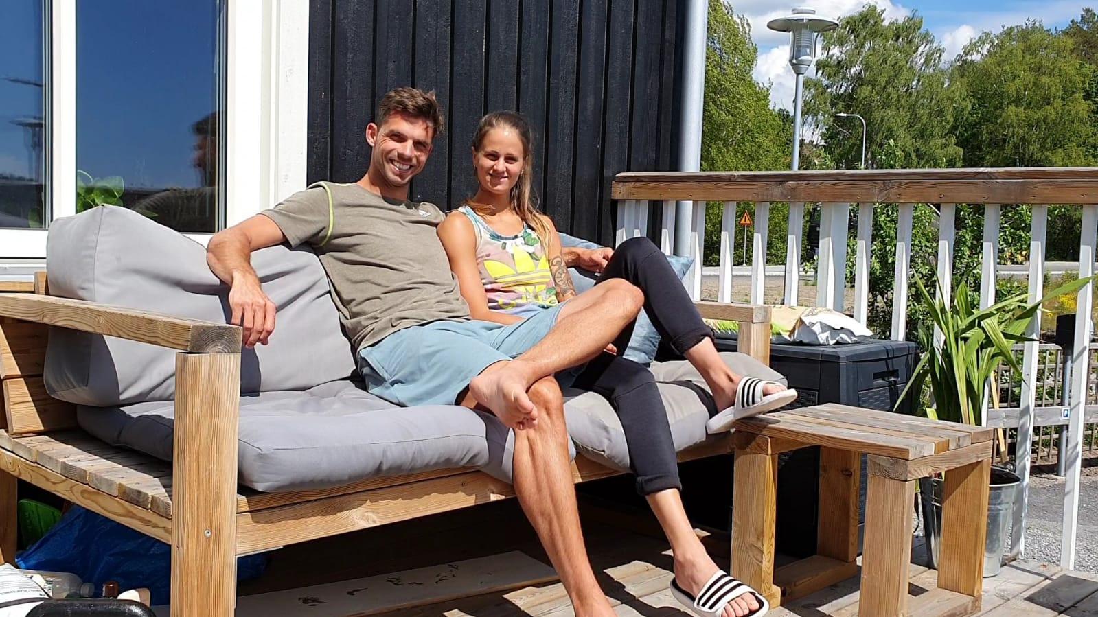 Eelco Sintnicolaas met vriendin Elin Westerlund in Uppsland Väsby in Zweden.