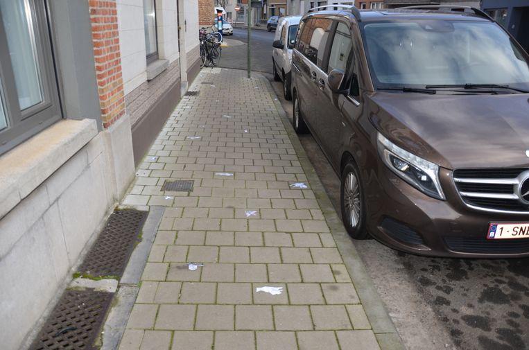 Het voetpad van de Rozemarijnstraat ligt bezaaid met streetart van dode vogels.