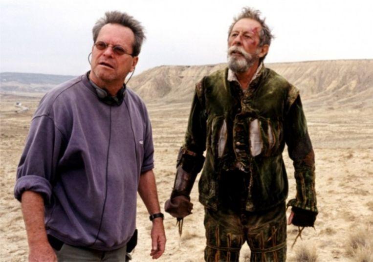 Regisseur Terry Gilliam en acteur Jean Rochefort bij opnamen in 2000. Beeld