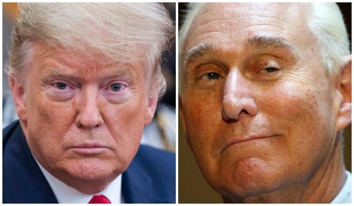 De Amerikaanse president Donald Trump (links) en Roger Stone.