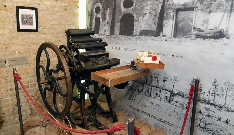 Een oude drukpers waarmee de krant 'Wipers Times' zou kunnen gedrukt zijn.