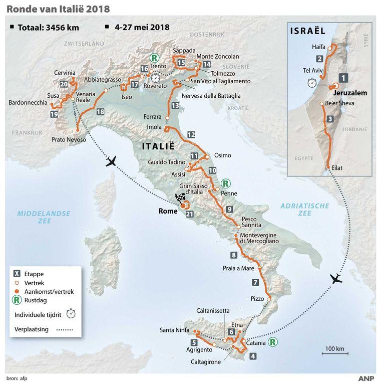 Ronde van Italië 2018, routeschema Giro d'Italia.