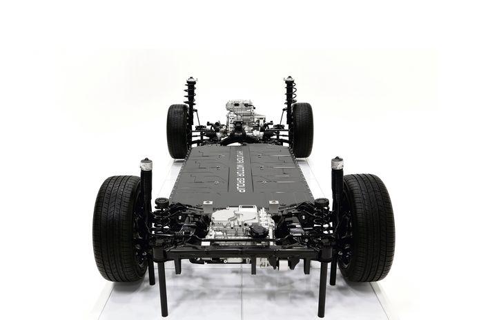 Het E-GMP platform is variabel in lengte, biedt plaats aan twee elektromotoren en accupakketten in diverse groottes