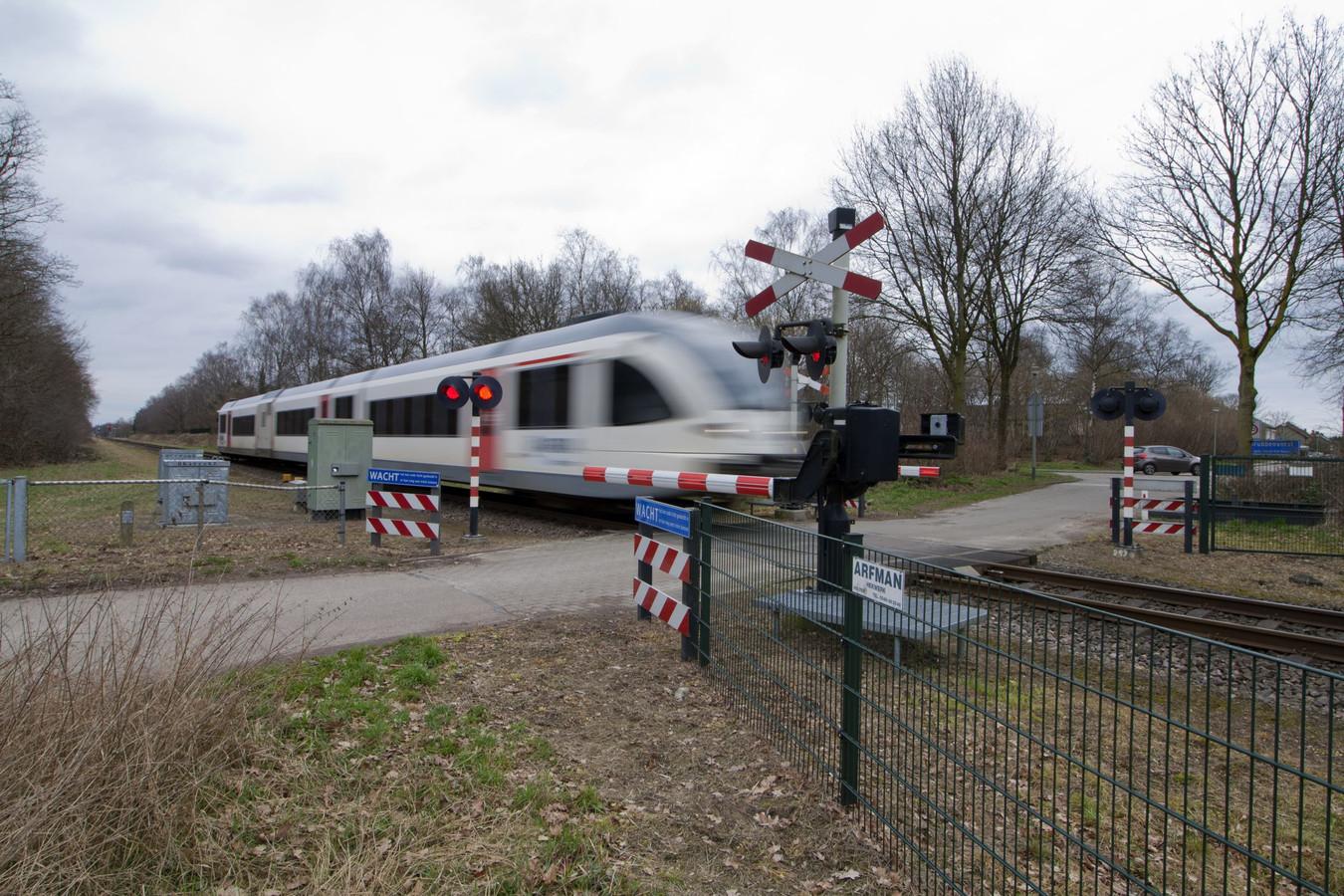Spoorwegovergang in de Maaslijn.