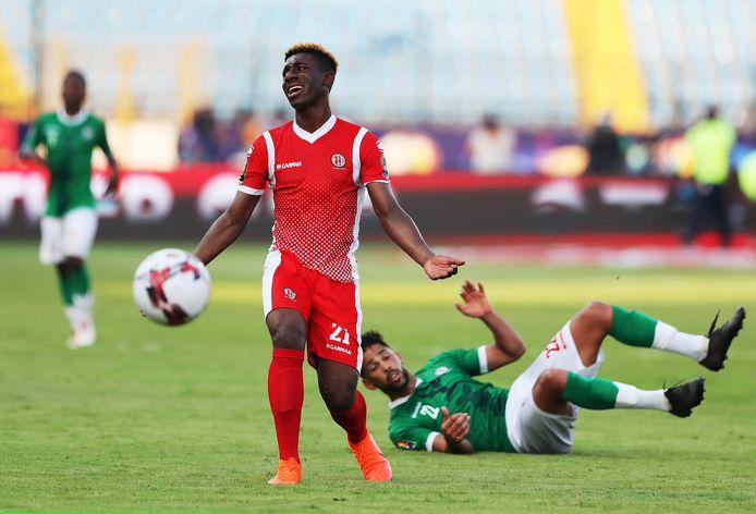 Mohamed Amissi in het shirt van Burundi in de met 1-0 verloren wedstrijd tegen Madagascar op de Africa Cup.