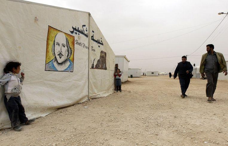 Het tentenkamp Zaatari in Jordanië waar Syrische vluchtelingen worden opgevangen, hier op een archieffoto Beeld afp