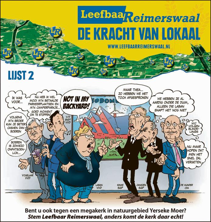 Eén van de cartoons van dit jaar: de visie van Weststrate op het besluit om een grote kerk aan de rand van Yerseke te bouwen.