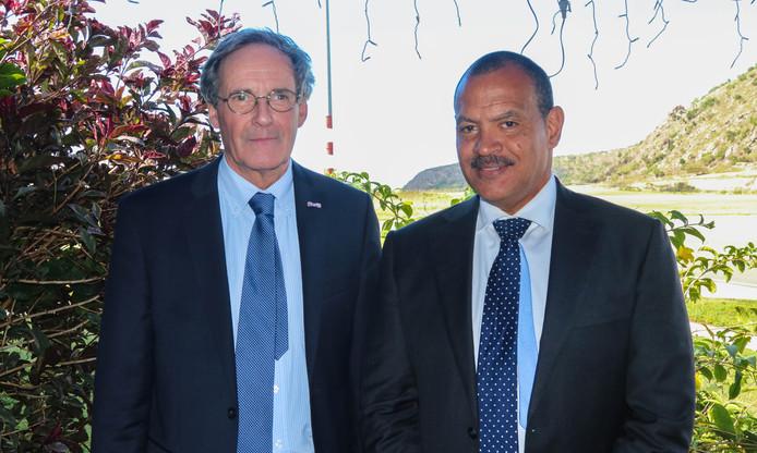 Mervyn Stegers (links) met Mike Franco. Samen vormen ze de komende tijd het bestuur van Sint Eustatius.