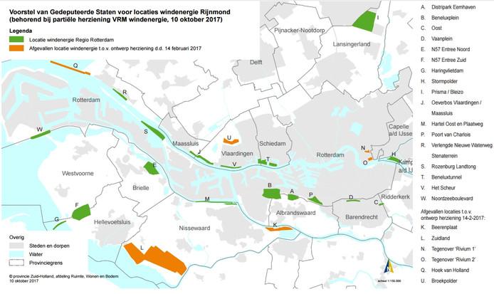 De provincie Zuid-Holland heeft 17 plekken in het Rijnmond-gebied aangewezen waar in de toekomst windmolens kunnen komen.