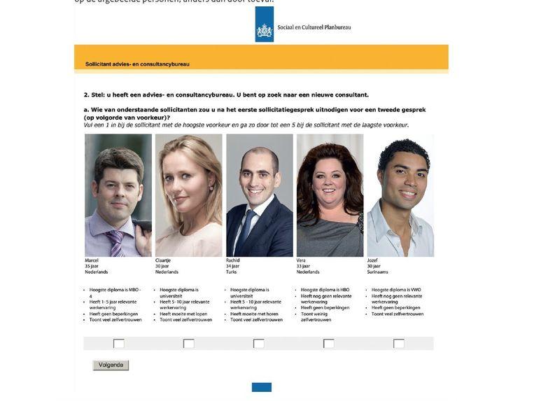 Voorbeelden van portretfoto's die door het panel werden beoordeeld op hun uiterlijk en door anderen als sollicitant voor een baan in een kantoorboekhandel of een consultancykantoor. Beeld