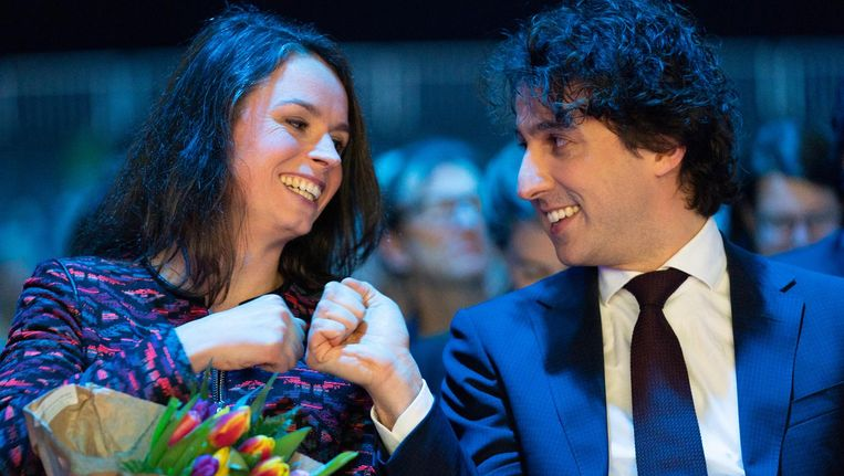 Katinka Eikelenboom en Jesse Klaver op het partijcongres van GroenLinks. Beeld anp