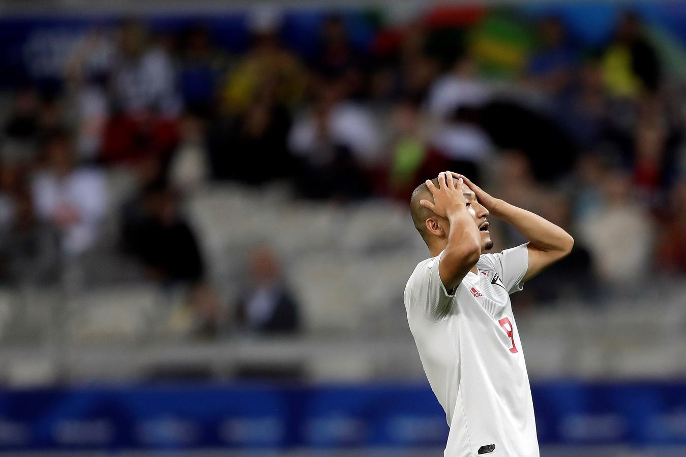 De Japanner Daizen Maeda mist een kans op een doelpunt.