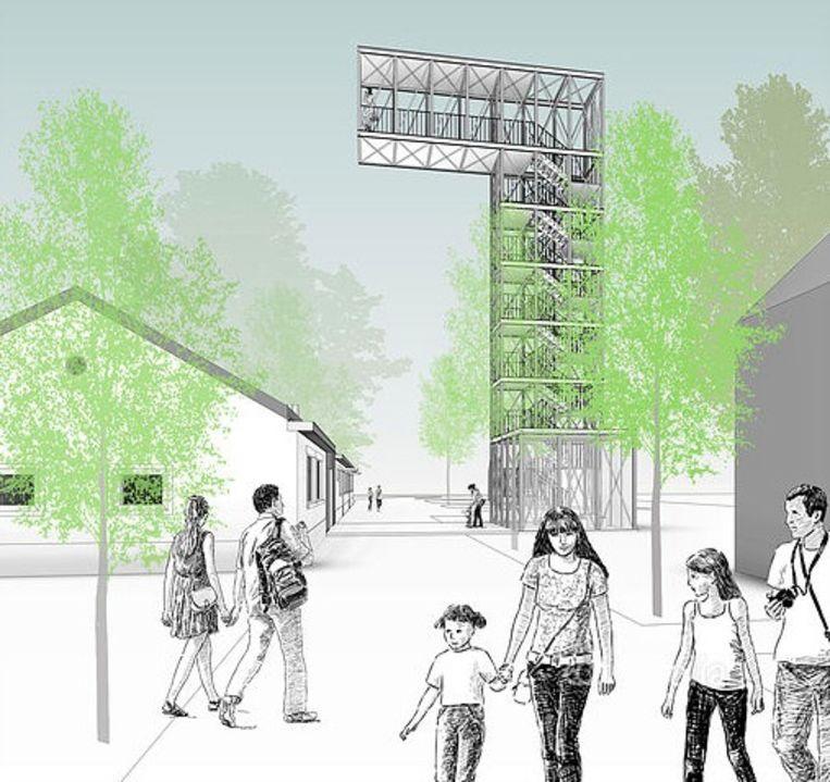 Een schets van KRAS Architecten uit Gent van hoe de uitkijktoren eruit zal zien.