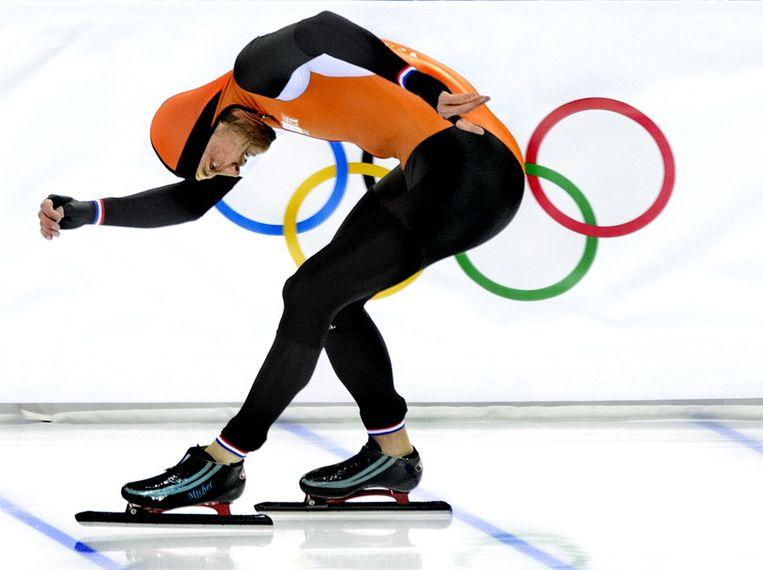 De finish van Michel Mulder op de spelen in Sotsji. Beeld Klaas Jan van der Weij / de Volkskrant
