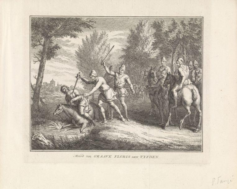 De moord op Floris V bij Muiderberg. De Gooiers konden hem niet meer uit de handen van zijn ontvoerders redden. Collectie Rijksmuseum Beeld collectie Rijksmuseum