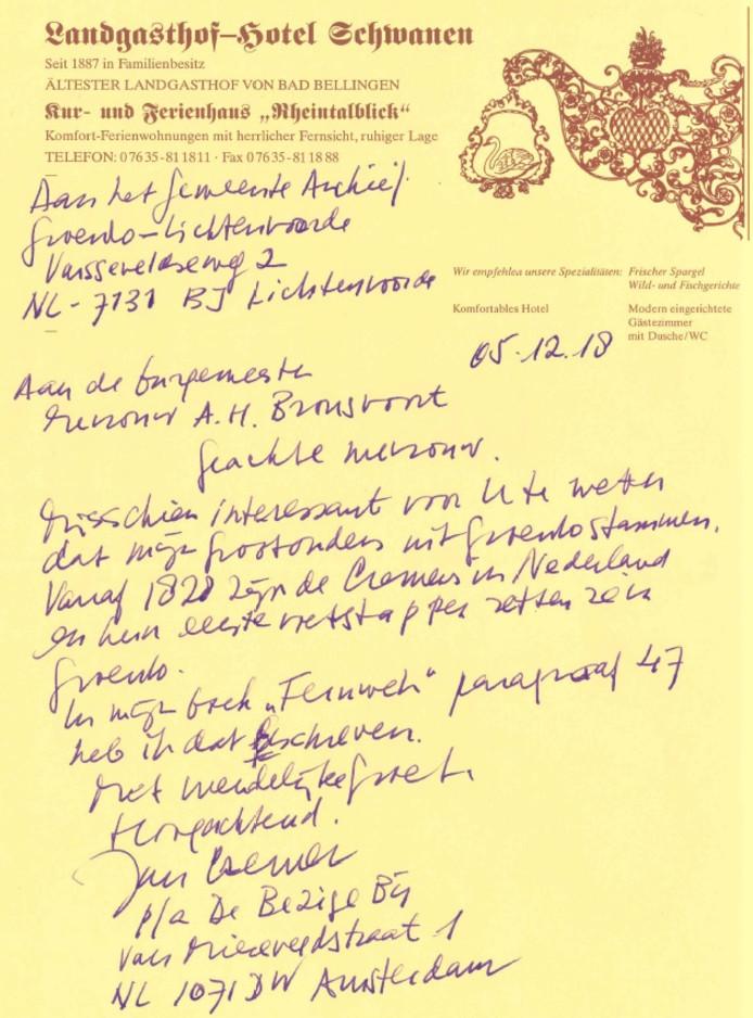Jan Cremer schreef een briefje aan Annette Bronsvoort, burgemeester van Oost Gelre. Zijn boodschap: de overgrootouders van Cremer hebben in Groenlo gewoond.