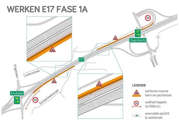 In een eerste fase zal de hinder op de snelweg nog beperkt zijn maar is er de snelheid op de oprit beperkt tot 50 km/uur.