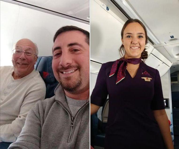 Hal Vaughan en Mike Levy, die het bijzondere verhaal naar buiten bracht. Rechts dochter Pierce in haar stewardessenuniform.