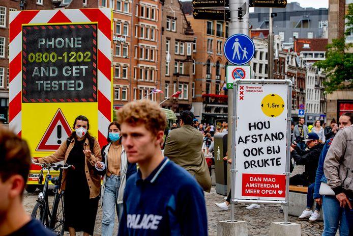 Drukte in het centrum van Amsterdam
