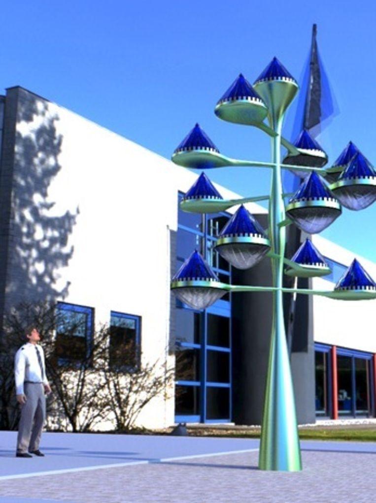 Een boom met 13 zonnepiramides. Beeld Solarphasec