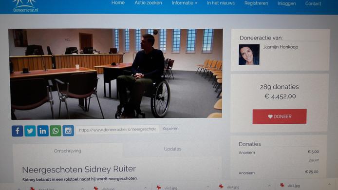 De teller van de actie voor de neergeschoten Sidney Ruiter stond maandagmiddag vroeg al op ruim 4000 euro. En dat bedrag loopt snel op.