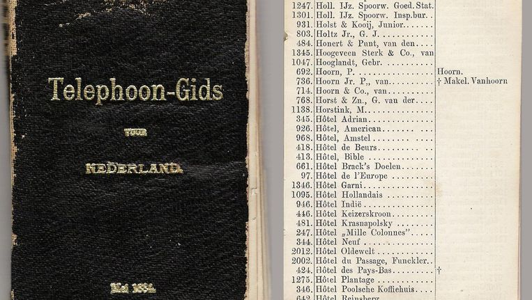 De telefoongids voor het hele land uit 1884 Beeld