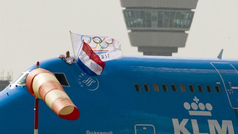 De olympische ploeg komt aan op Schiphol in 2008. Beeld ANP