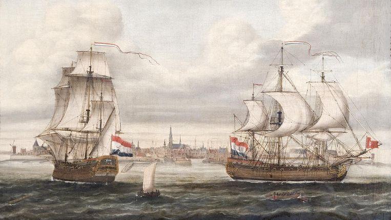 Slavenschepen van de WIC. Beeld Cornelis Louw (Zeeuws maritiem muZEEum) [CC0], via Wikimedia Commons