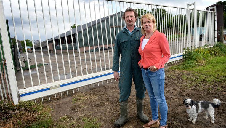 Melkveehouder Nort Denissen met zijn vriendin Inge (en hond Bowie) voor het hek dat ze om hun erf in Moergestel hebben laten plaatsen. Dat deden ze na de diefstal van een loader (een soort tractor), duur maiszaad en liters diesel. Beeld Marcel van den Bergh / de Volkskrant
