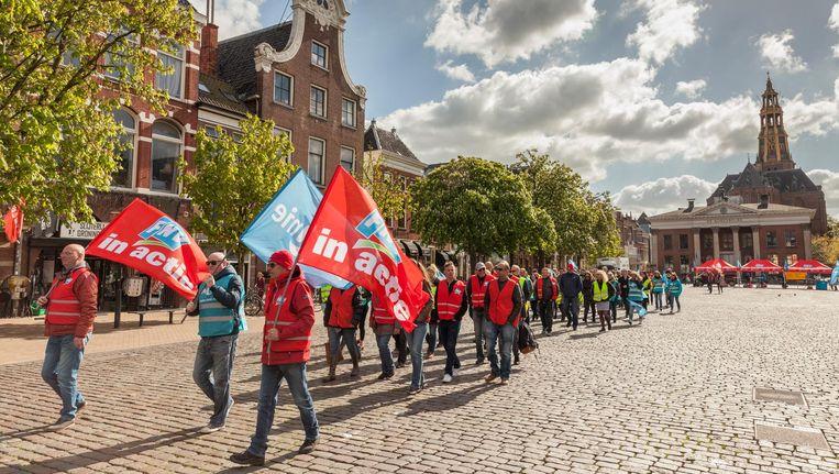 Een staking van FNV-leden in Groningen. Beeld Harry Cock / de Volkskrant