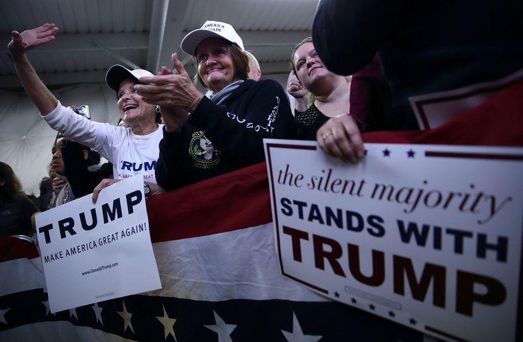 Aanhangers van de Republikeinse presidentskandidaat Donald Trump. Beeld afp