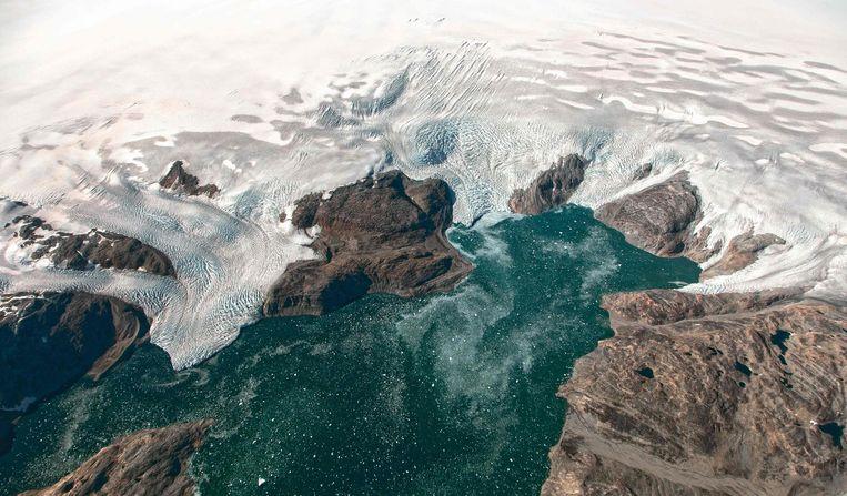 De gletsjers Bruckner en Heim in het zuidoosten van Groenland.