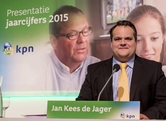 Jan Kees de Jager van KPN tijdens de presentatie van de jaarcijfers 2015.