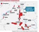 De mogelijke zoekgebieden voor windenergie die door de regio's Noord Veluwe en Cleantech.