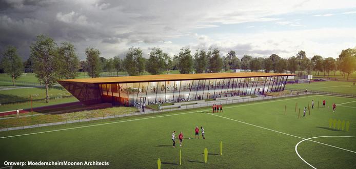Schets van het nieuwe trainingscomplex van Feyenoord.