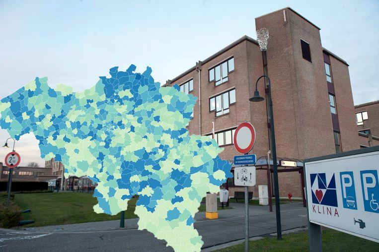 Het AZ Klina in Brasschaat: het noorden van de provincie Antwerpen kende eind april een forse stijging van het aantal coronagevallen.