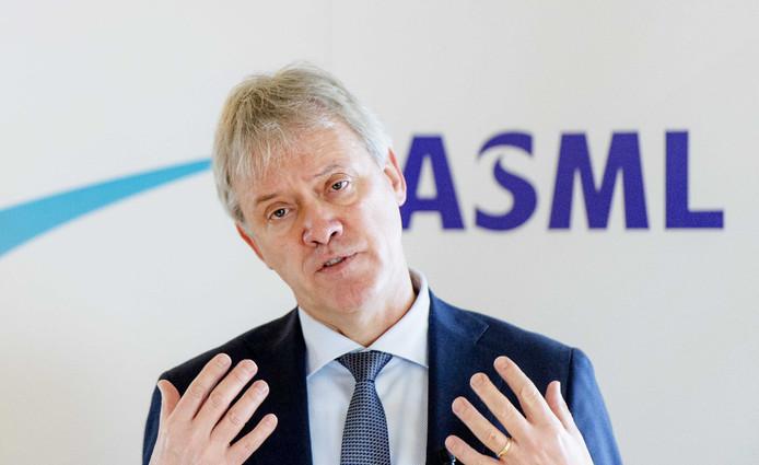 CEO Peter Wennink tijdens de presentatie van de jaarcijfers van ASML.