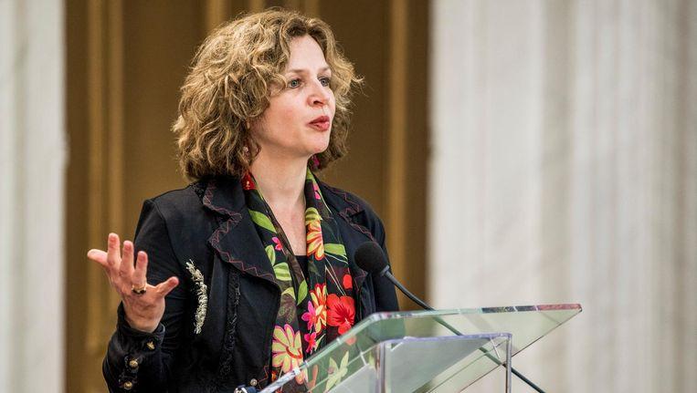 Edith Schippers tijdens de persconferentie na afloop van het eerste gesprek als informateur met de VVD, CDA, D66 en GroenLinks. Beeld Freek van den Bergh / de Volkskrant