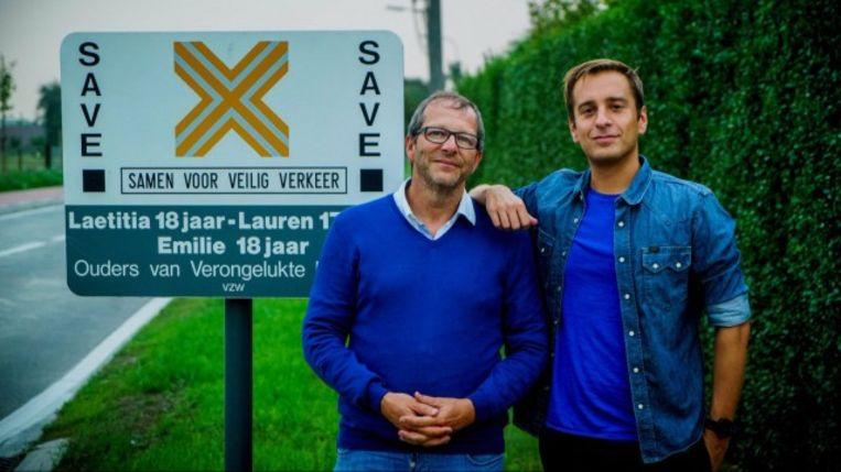 Vincent Leus, de vader van Emilie, en radiopresentator Sam De Bruyn.