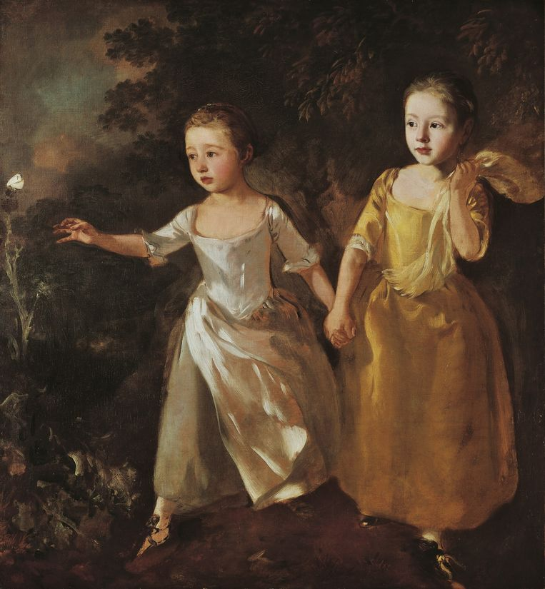 Thomas Gainsborough (1727-1788): The Painter's Daughters Chasing a Butterfly (ca1756), National Gallery, Londen. Beeld Hollandse Hoogte