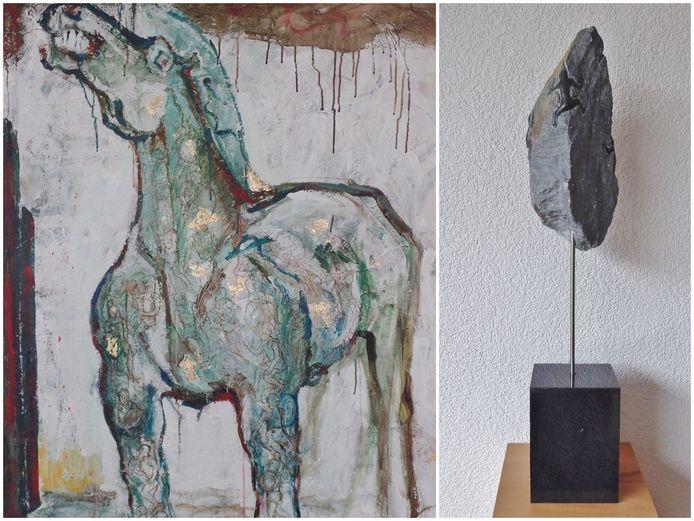 Links: het kunstwerk van Inge Sips, rechts van Mieke Freyee-Röling.