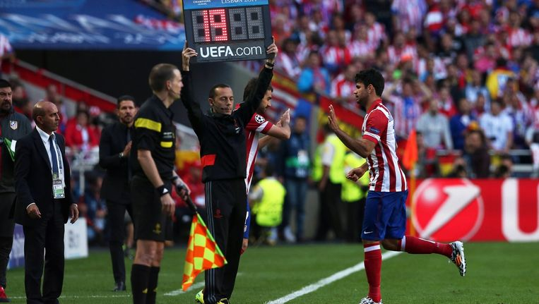 Diego Costa bij zijn wissel in de Champions League-finale