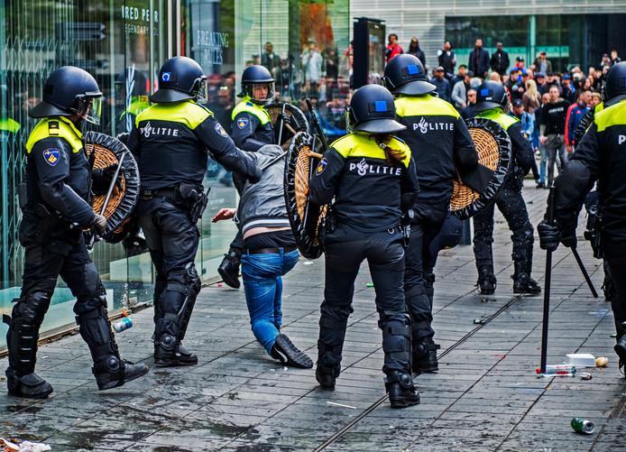 Rellen na afloop van de wedstrijd Excelsior - Feyenoord in de binnenstad van Rotterdam.