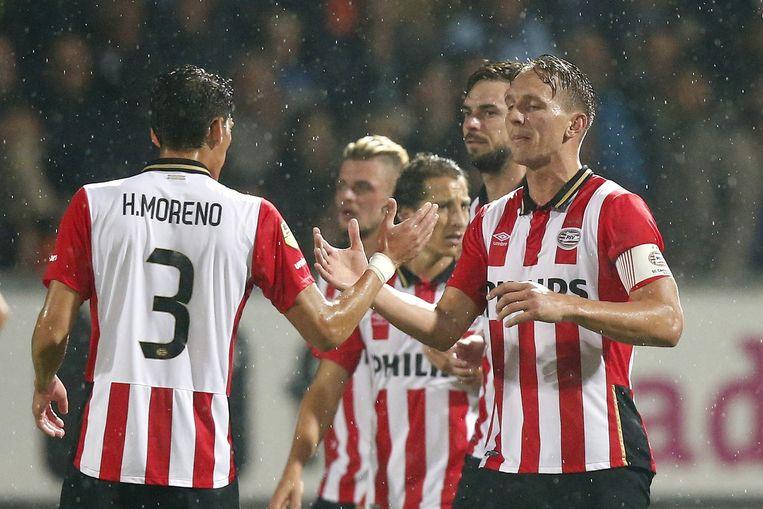 PSV'ers Hector Moreno (3) en aanvoerder Luuk de Jong (R) Beeld anp