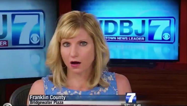 De presentatrice van WDBJ-TV7 nadat ze de beelden van de schietpartij zag. Beeld ap