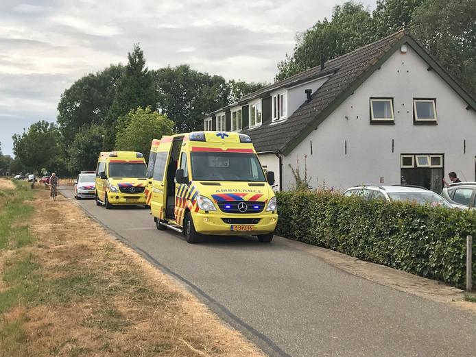 Een ambulance bracht de vrouw naar het ziekenhuis na de wespensteek in Overasselt.