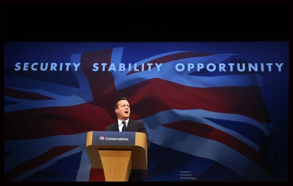 De Britse premier David Cameron tijdens het jaarlijkse partijcongres van de Tories.
