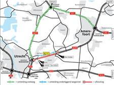 Weekendafsluitingen snelweg Amersfoort-Utrecht