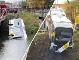 Lijnbus wijkt uit voor brandweerwagen en rijdt het water in