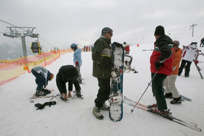 Wintersporters in Gerlos. Foto ter illustratie